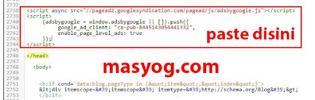 cara memasang kode iklan google adsense