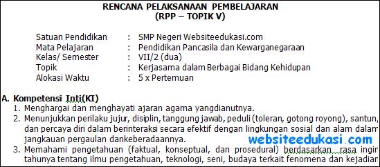 RPP PKn Kelas 7 Semester 2 Kurikulum 2013 Revisi Terbaru