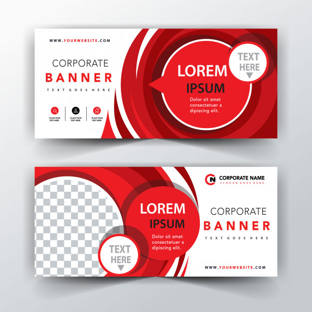 Red illustration abstract banner Free Vector