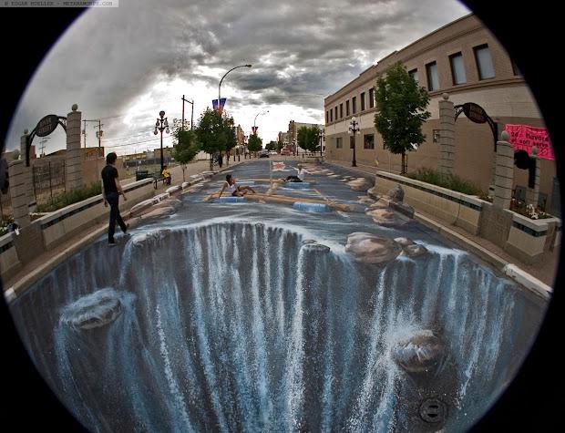 3D Graffiti Art On Sidewalk
