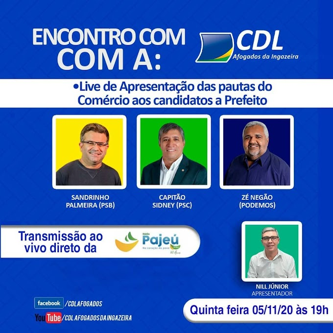 CDL promoverá Live com candidatos à prefeitura de Afogados nesta quinta (05)