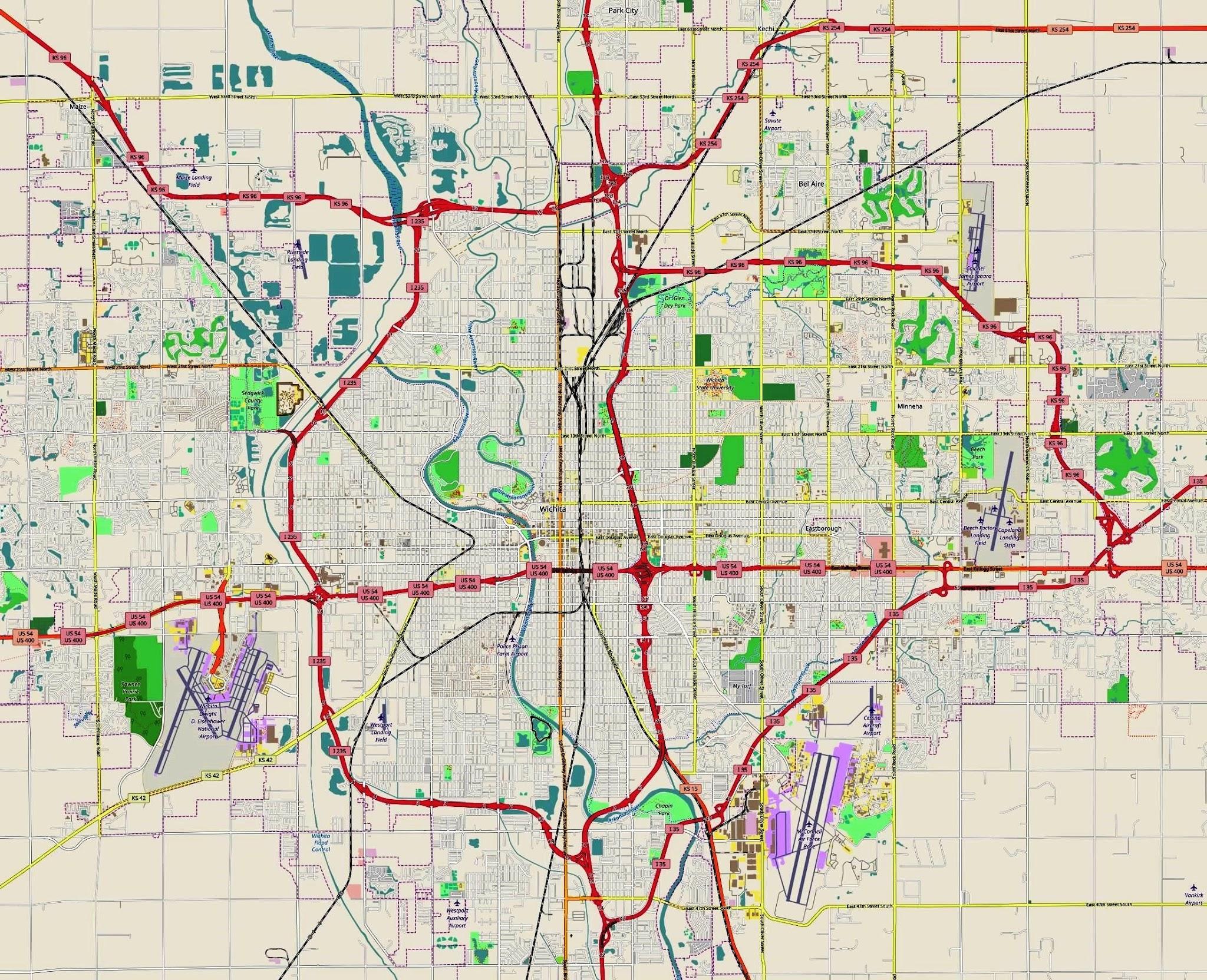 Wichita Kansas Map Car Radio Gps