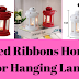 Tied Ribbons Home Decor Hanging Lantern with Tealight Candle