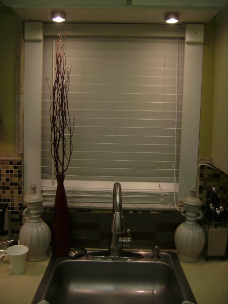 Small Apartment Kitchen Redone with spot lighting, glass tiles, Hood Range and extendable head kitchen faucets