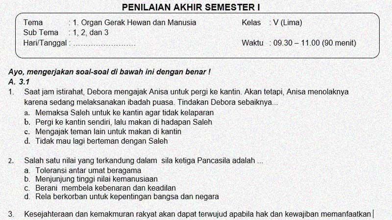 Soal dan Jawaban Penilaian Akhir Semester 1 Kelas 5 Tema 1