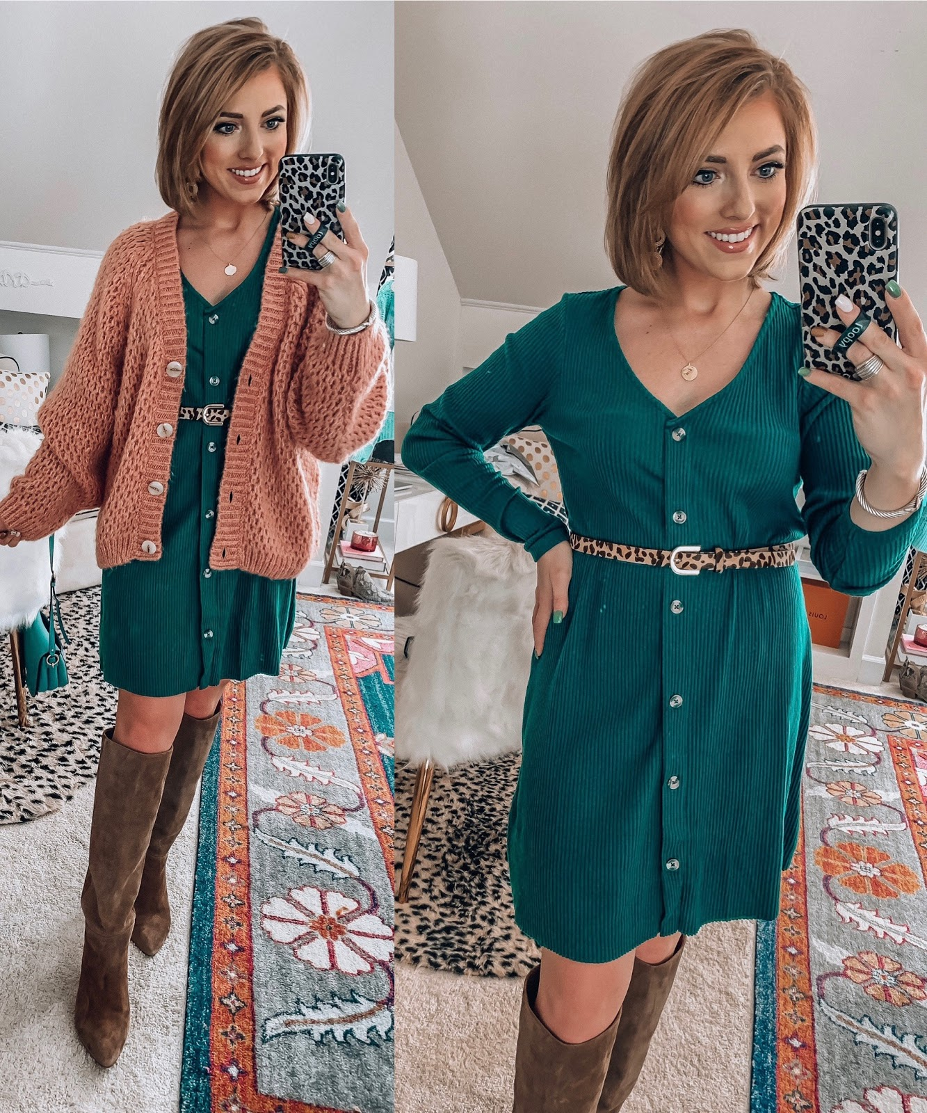 ASOS New Fall Arrivals - $35 Ribbed Button Up Dress in Emerald - Something Delightful Blog #fallstyle #affordablefashion