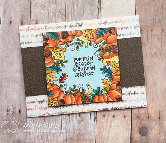 Pumpkin Kisses Fall Frame Card by Holly Endress | Fall Fringe Stamp Set by Newton's Nook Designs #newtonsnook #handmade