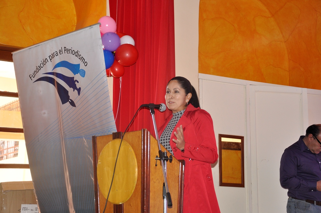 Profesora Bellido en un evento de la Fundación Para el Periodismo / FPP