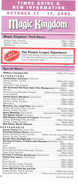Magic Kingdom Times Guide October 11-17 2009