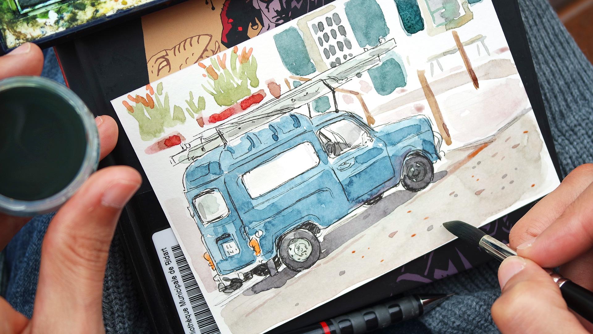 Blue car drawing