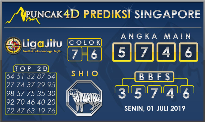 PREDIKSI TOGEL SINGAPORE PUNCAK4D 01 JULI 2019