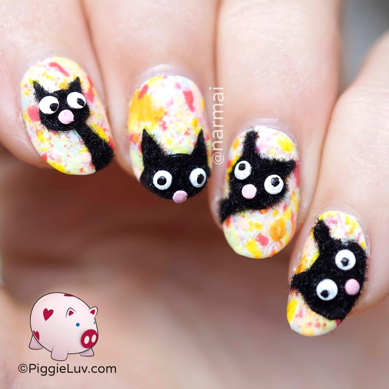 Piggieluv Fuzzy Cats Nail Art