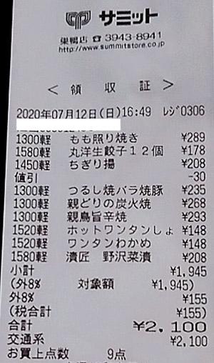 サミット 巣鴨店 2020/7/12 のレシート