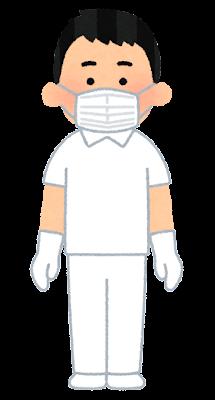 個人防護具のイラスト(白衣・マスク・男性)