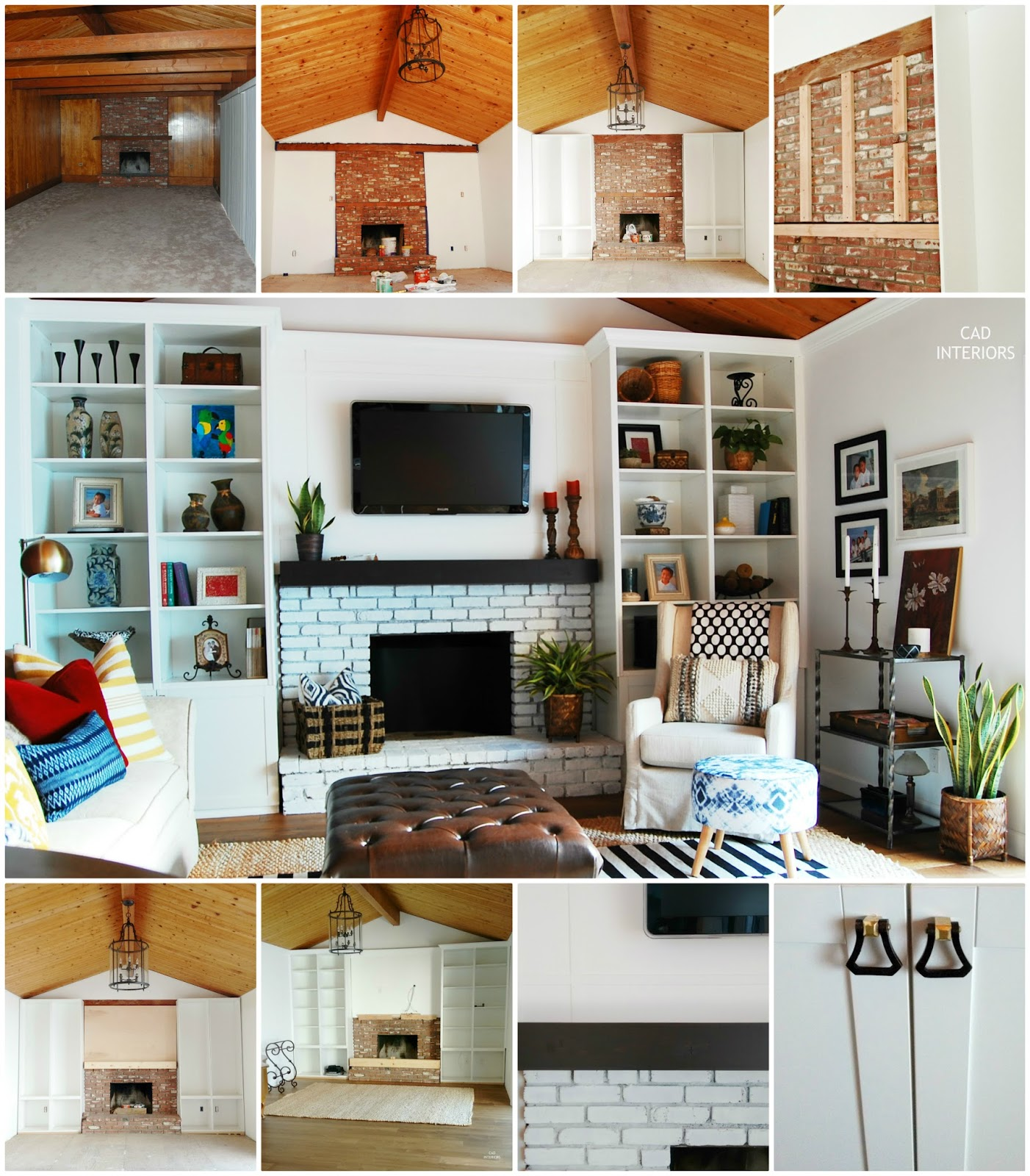diy ikea built-in cabinetry fireplace brick whitewash makeover modern eclectic bohemian vintage transitional interior decorating design orc one room challenge