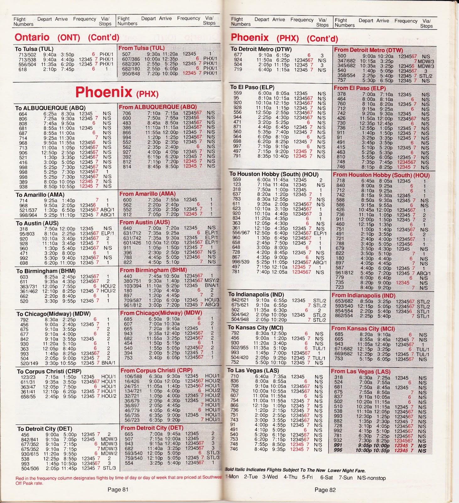 Airline Timetables Southwest Airlines April 1990