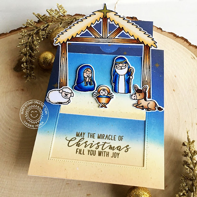 Sunny Studio Stamps: Holy Night Sliding Window Dies Inside Greetings Christmas Card by Candice Fisher