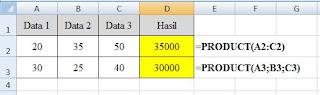 contoh penulisan rumus perkalian excel dengan fungsi product