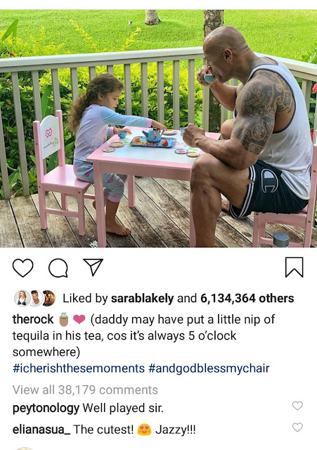"This Photo Of Dwayne ""The Rock"" Johnson And His Daughter Having A Tea Party Will Make You Smile"