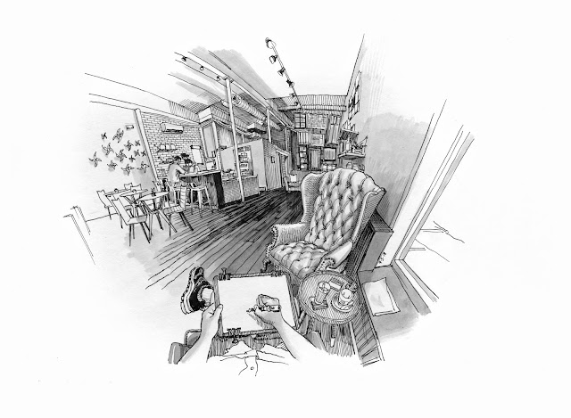 sketch of interior or Pinwheel Cafe