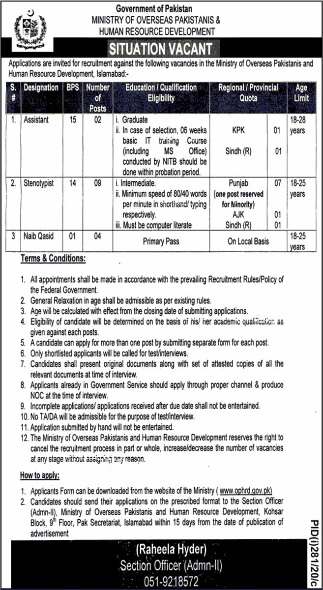 Persons Required in Ministry Of Overseas Pakistanis & Human Resource Development 2020