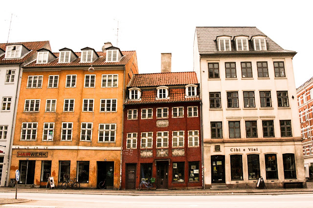 Photograph Browns and Yellow Colored Dutch Building Shops in Copenhagen Denmark