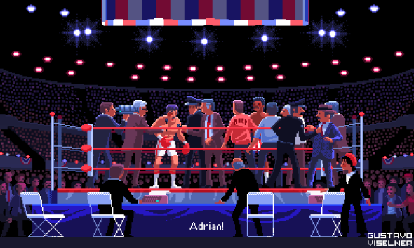 Gustavo Viselner ilustrações pixel art filmes tv referências Rocky