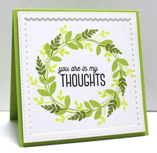 Spring Green Wreath Card by Jody Morrow featuring Lisa Johnson Designs Spring Wreath stamp set and the Stitched Square Scallop Frames Die-namics #mftstamps