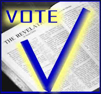 A photo of the title page of the book of Revelation with an enlarged VOTE caption and a check mark signifying political positions for evangelical Christians in light of Bible Prophecy