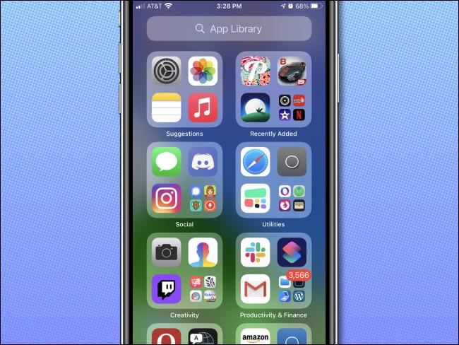 شاشة نظرة عامة على مكتبة تطبيقات Apple iPhone