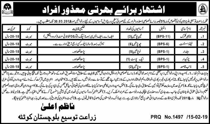 Balochistan Agriculture Department Latest Jobs 17 Feb 2019
