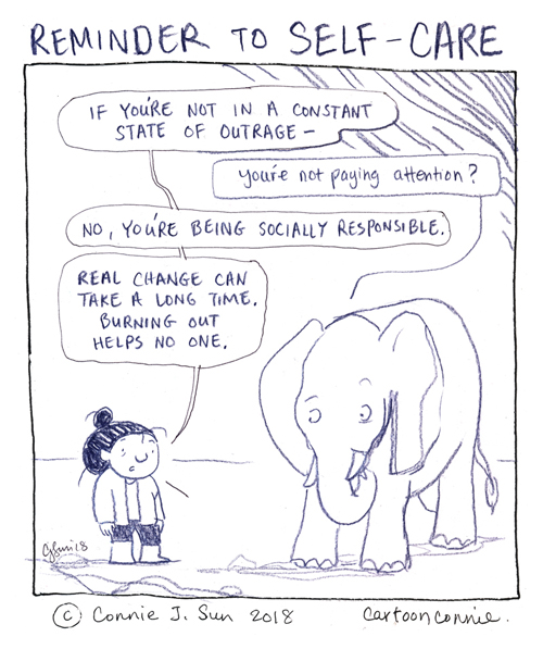 cartoon about activism and self-care, outrage culture, sketchbook comic, drawing, connie sun, cartoonconnie