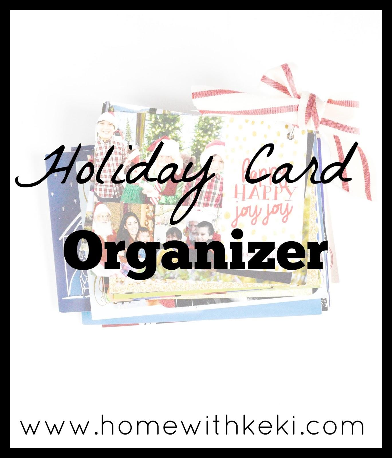 how to display your holiday cards, holiday card organizer www.homewithkeki.com #holidays #organization