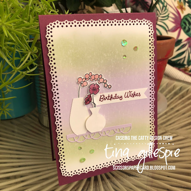 scissorspapercard, Stampin' Up!, CASEing The Catty, Varied Vases Bundle, Ornate Layers Dies, Painted Labels Dies