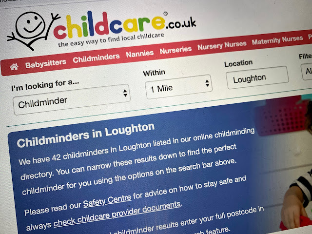 Childcare.co.uk website close up searching for a childminder in loughton