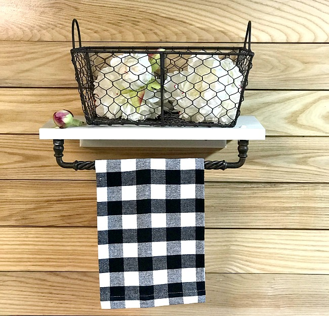 Repurposed Cabinet door DIY Basket shelf and towel bar