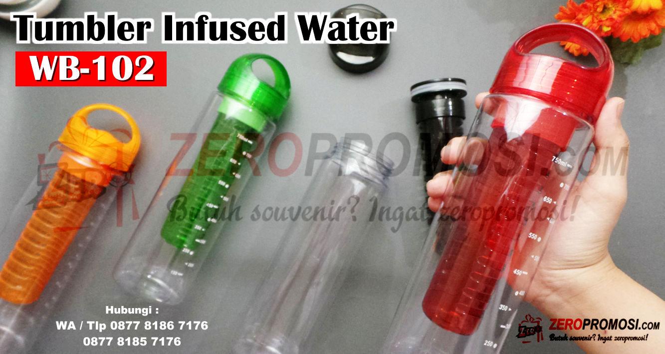 Souvenir Tumbler Infused Water Bottle kode WB-102, tumbler promosi Custom Cetak Logo, Botol Infus Fruit + Sablon 700ML WB102, Souvenir Tumbler Custom WB-102 Tumbler Infus Water