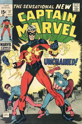 Captain Marvel #17, it's his exciting new costume, powers and sidekick