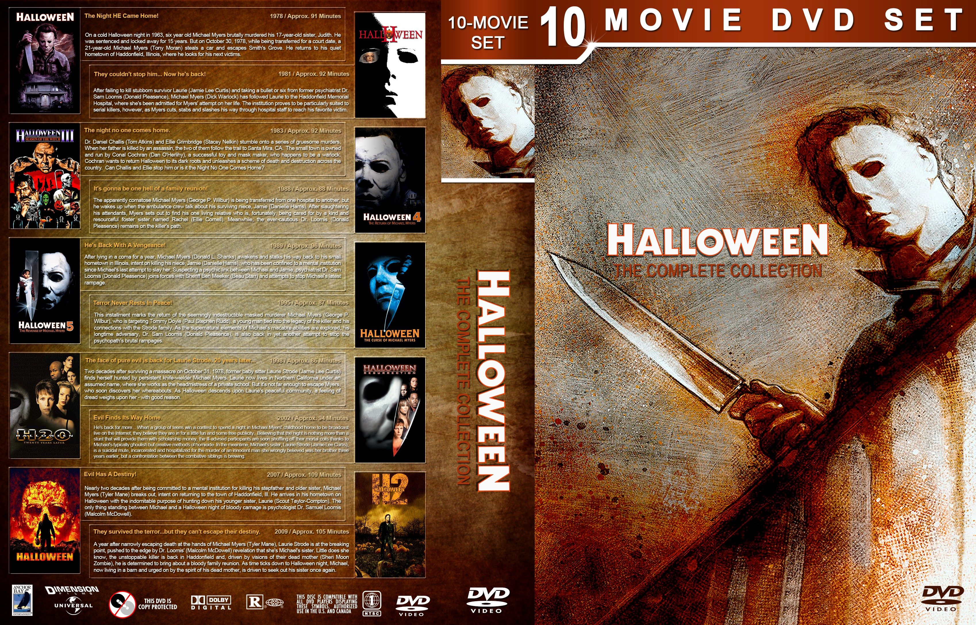 halloween: the complete collection dvd cover - cover addict - dvd