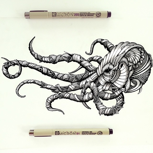 12-Octopus-Faye-Halliday-Haathi-Detailed-Drawings-Representing-Complex-Animal-www-designstack-co