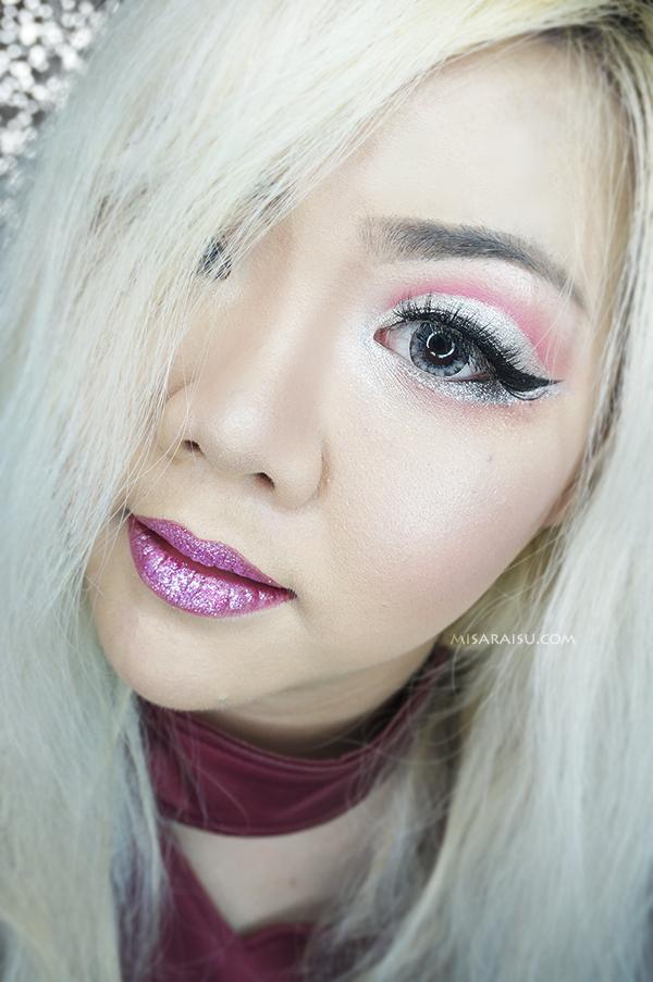 valentine day makeup tutorial glitter metallic