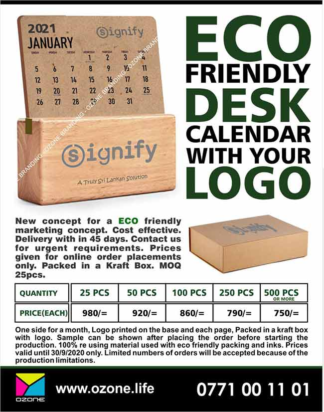 Ozone Branding - Eco Friendly Wooden Desk Calendars with your Logo