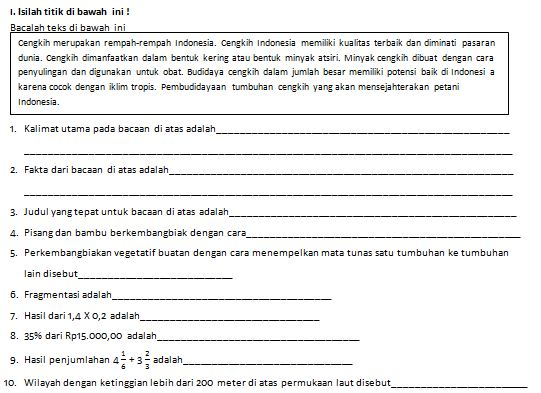 Download Contoh Soal Tematik SD/MI Kelas VI Kurikulum 2013 Tema 1 Selamatkan Makhluk Hidup Format Microsoft Word