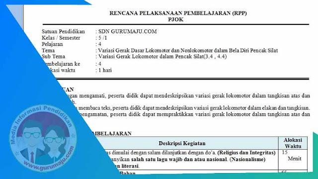 RPP PJOK 1 Lembar Semester 1 Kelas 5 Tema 4