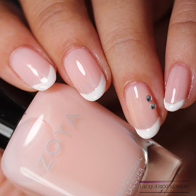 Bridal French nail design for natural nails using Bela and Snow White from the Zoya Bridal Bliss collection