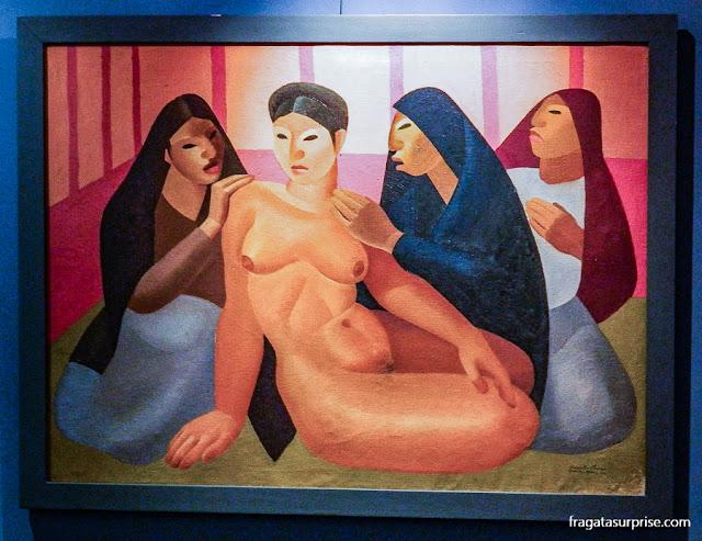 """""""O Conselho da Tias"""", obra do pintor Roberto Ossaye exposta no Museu Nacional de Belas Artes Carlos Mérida, na Cidade da Guatemala"""