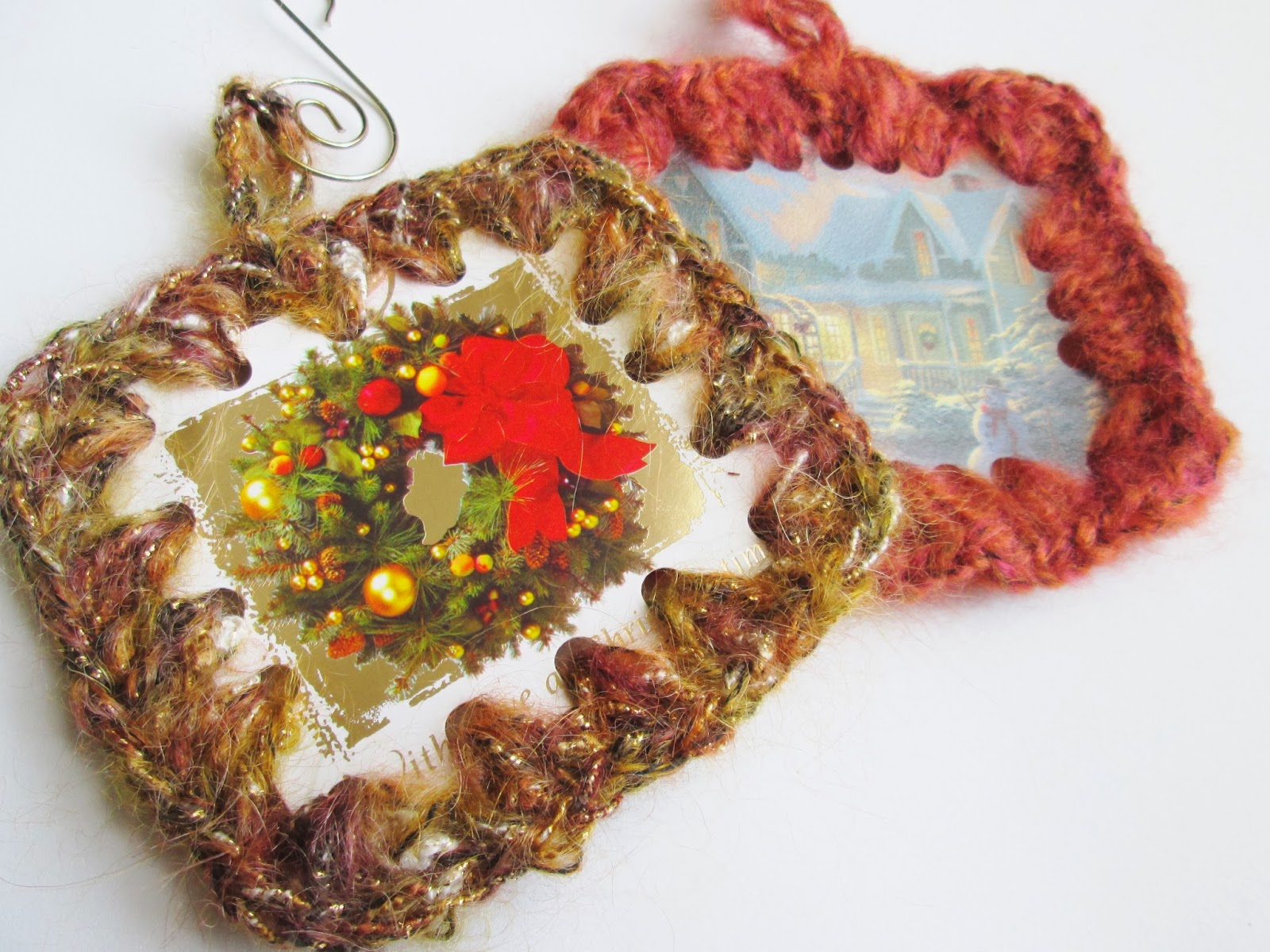 Reused Christmas Card Ornaments with Crochet Edging