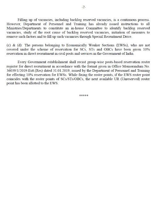 sc/st obc quota in govt deptt