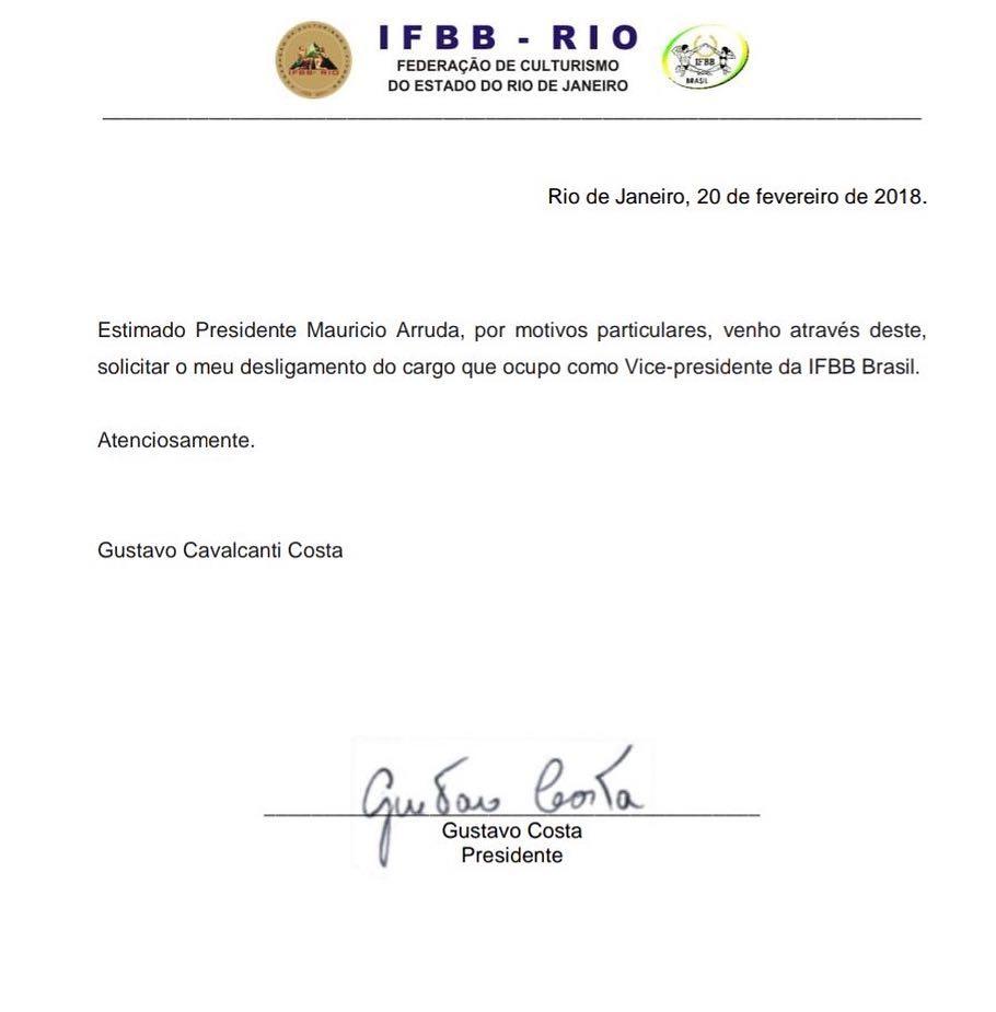 Carta de Gustavo Costa solicitando desligamento da vice-presidência da IFBB Brasil. Foto: Reprodução