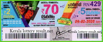 Kerala Lottery Result 09-02-2020 Pournami RN-429 (keralalotteryresult.net)